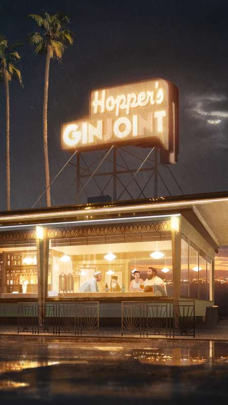 Hopper's Ginjoint Mobiele Verticaal achtergrond