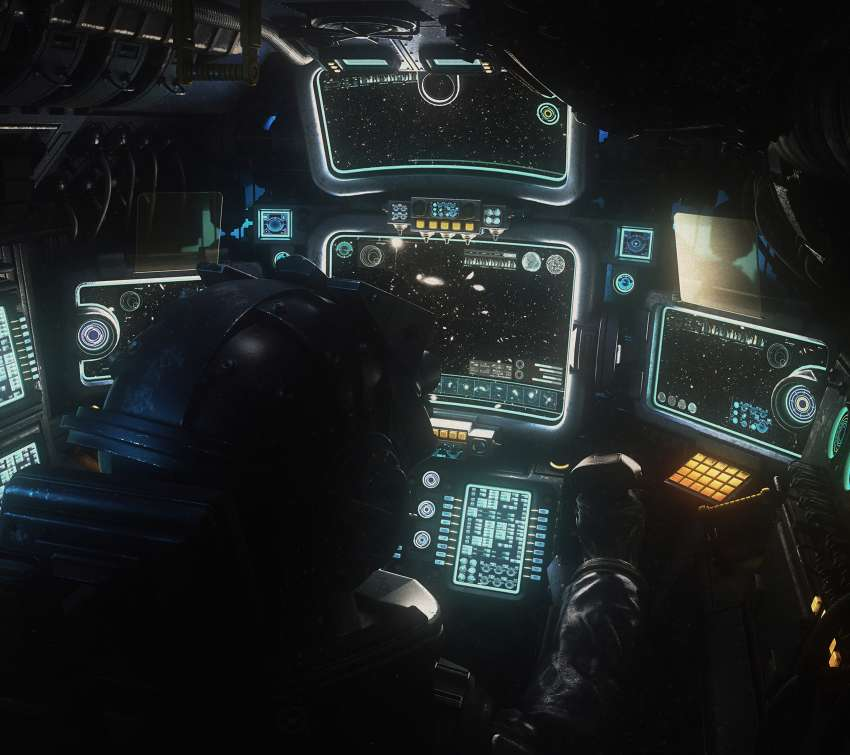 Military Space Cockpit Mobiele Horizontaal achtergrond