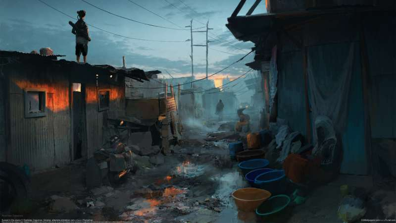 Sunset in the slums achtergrond